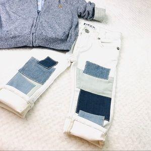 Peek NWT Baby Greta patch work white denim jeans